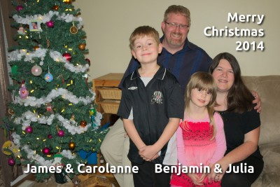 Merry Christmas 2014 from James, Carolanne, Benjamin and Julia