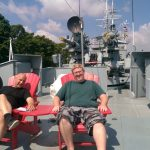 Relaxing on deck of the HMCS Haida